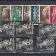 UNGARIA 1942, MI 695 X 5 SI MI 699/704, MNH, LOT 1 ST, Nestampilat