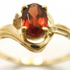 Inel aur galben 9k cu diamante si Natural Garnet, marime 7(US) - Inel diamant, 46 - 56
