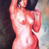 Tablou picturå,, nud,, - Pictor roman, Ulei, Miniatural