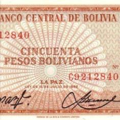 Bolivia 50 Pesos Bolivianos 1962 P-162 UNC !!! - bancnota america