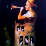 Tablou picturå,, trompetå,, - Pictor roman, Nonfigurativ, Ulei, Miniatural
