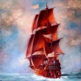 Tablou picturå,, corabie,, - Pictor roman, Marine, Ulei, Miniatural