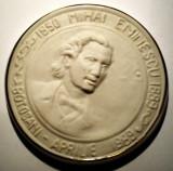 5.080 ROMANIA MEDALIE MIHAI EMINESCU 1850 1889 BOTOSANI 1989 CERAMICA 88mm