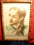 Tablou - Cap Indianca semnat Francois St'Cerezi -creion si acuarela , 19x26 cm, Portrete, Carbune, Altul