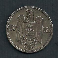 ROMANIA CAROL II 20 LEI 1930, HEATON [17] Livrare in cartonas - Moneda Romania, Cupru-Nichel