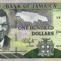 Jamaica 100 Dolari 06, 08.2012 (comemorativa: 50 ani Jamaica) P-90 UNC !!! - bancnota america