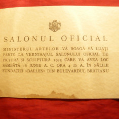 Invitatie la Slonul Oficial de Pictura si Sculptura 1945, desen creion pe spate - Hartie cu Antet