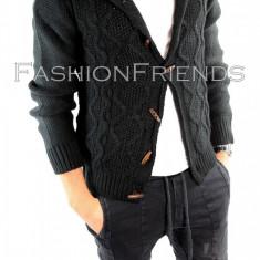 Pulover tip ZARA negru - pulover barbati - pulover slim fit - cod 5684, Marime: L, Culoare: Din imagine