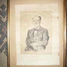 Litografie semata Steriadi 1944 -Autoportret, dim.= 36x25, 5 cm partea desen