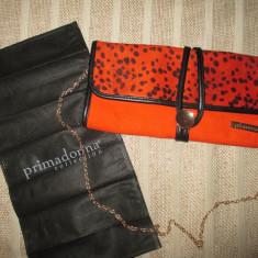 Geanta/plic dama portocalie animal print cu curea lant PrimaDonna - Geanta Dama, Culoare: Din imagine, Marime: Mica, Asemanator piele