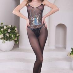 BS217-1 Lenjerie bodystocking sexy, accesorizat cu paiete si model paianjen - Lenjerie sexy dama, Marime: S/M, Negru
