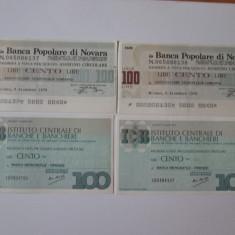 4 BILETE BANCARE/CECURI EMISE DE BANCILE ITALIENE DIN NOVARA SI FLORENTA 1976/77 - Cambie si Cec