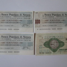 4 BILETE BANCARE/CECURI EMISE DE BANCILE ITALIENE DIN SICILIA SI NOVARA IN 1976 - Cambie si Cec