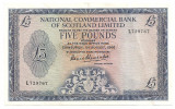 SCOTIA NATIONAL COMMERCIAL BANK OF SCOTLAND LIMITED 5 POUNDS LIRE 1966 XF