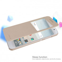 Husa HTC One A9 S-VIEW Sparkle Leather by Nillkin Gold - Husa Telefon HTC, Auriu, Piele Ecologica, Cu clapeta, Toc