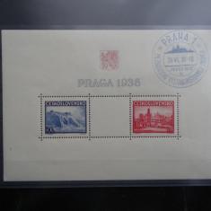 Bloc timbre Cehoslovacia-Ceskoslovensko-Praga 1938-stampilat