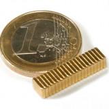 Magnet neodim bloc, 5x4x1 mm, putere 350 g, placat aur
