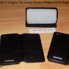 Husa Piele Ecologica Tip Carte Pentru Philips V526 Negru - Husa Telefon Philips, Cu clapeta