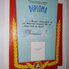 Diploma Ministerul Apararii Nationale - R.S.R. anii '80 - Militar de Frunte ~7~ - Diploma/Certificat