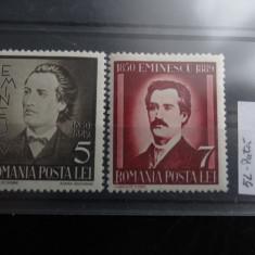 LP130-50 ani de la moartea lui M. Eminescu-serie completa cu pete pe spate-1939 - Timbre Romania, Stampilat