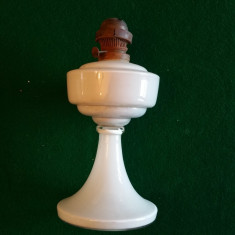LAMPA STICLA OPALINA CU PETROL DE BIROU SI INTERIOR - anii 1930