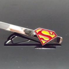 AC cravata model SUPERMAN metalic + cutie simpla cadou, Argintiu