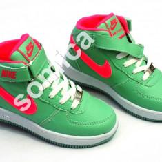 GHETE ADIDASI NIKE FORCE ONE COPII - Ghete copii Nike, Marime: 32, 33, Culoare: Roz, Verde, Unisex, Piele sintetica