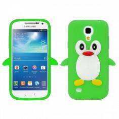 Husa silicon Samsung Galaxy S4 mini Green PINGUIN VERDE + folie protectie - Husa Telefon Samsung, Negru, Carcasa