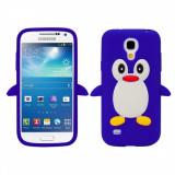 Husa silicon Samsung Galaxy S4 mini DARK BLUE PINGUIN + folie protectie, Albastru, Carcasa