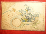 Ilustrata circulata 1905 Abrud-Bucuresti - Flori de Nu-Ma-Uita , in relief, Printata