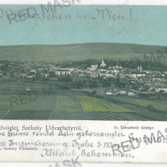 3367 - Litho, Harghita, ODORHEIUL SECUIESC, Panorama - old postcard - used 1901 - Carte Postala Transilvania pana la 1904, Circulata, Printata
