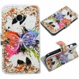 Husa MOTOROLA MOTO E portofel carte flip cu flori fluturi - Husa Telefon Motorola, Roz, Piele Ecologica