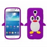 Husa silicon Samsung Galaxy S4 mini Purple PINGUIN MOV + folie protectie, Negru
