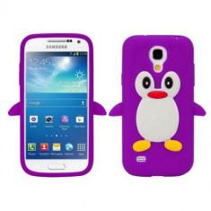 Husa silicon Samsung Galaxy S4 mini Purple PINGUIN MOV + folie protectie - Husa Telefon Samsung, Negru, Carcasa