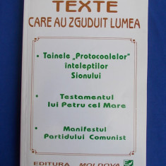 TEXTE CARE AU ZGUDUIT LUMEA : TAINELE PROTOCOALELOR INTELEPTILOR SIONULUI - 1995 - Carte Hobby Masonerie