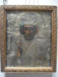 Icoana veche lemn Sfantul Nicolae  pictura partiala riza metalica,  circa 1850