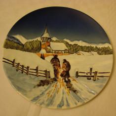 Farfurie mare decorativa din portelan german - peisaj de iarna, Decorative