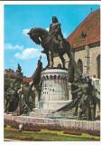 % carte postala (ilustrata)-CLUJ -Statuia lui Matei Corvin, Circulata, Printata