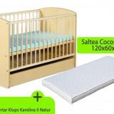 Patut Cu Sertar Klups Karolina Ii Natur + Saltea - Patut lemn pentru bebelusi