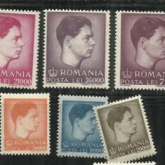 ROMANIA 1947 -UZUALE MIHAI I - FORMAT MIC SI MARE - LP 212 -M.N.H - Timbre Romania, Nestampilat