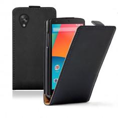Husa LG Google NEXUS 5 Flip Case Inchidere Magnetica Black - Husa Telefon LG, Negru, Piele Ecologica, Cu clapeta, Toc