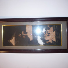 TABLOU MOTIV ORIENTAL DECOR CU PLUTA PE PANZA