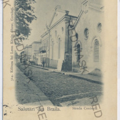 3389 - L i t h o, BRAILA, Templul Evreiesc - old postcard - used - 1898 - Carte Postala Muntenia pana la 1904, Circulata, Printata