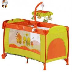 Babygo – Patut Pliant Cu 2 Nivele Si Mini-Carusel Sleeper Deluxe Orange - Patut pliant bebelusi BabyGo, Portocaliu