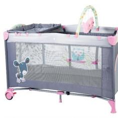 Babygo – Bgo4403 – Patut Pliant Cu 2 Nivele Sleepwell Pink - Patut pliant bebelusi BabyGo, Roz