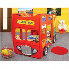 Patut In Forma De Masina Happy Bus - Plastiko - Rosu - Pat tematic pentru copii