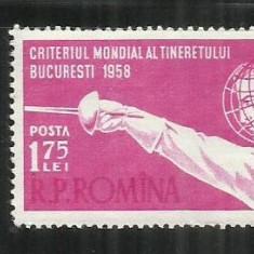 ROMANIA 1958 - CRITERIUL MONDIAL AL TINERETULUI LA SCRIMA - LP 453- MNH - Timbre Romania, Nestampilat