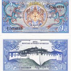 BHUTAN 1 ngultrum 1985-1992 UNC!!! - bancnota asia