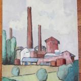 "C Vulcan ""Uzina"" vechi ulei pe carton - Pictor roman, Peisaje, Realism"