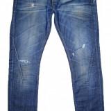 Blugi Conici / Slim Fit ZARA - (MARIME: 32) - Talie = 90 CM / Lungime = 116 CM - Blugi barbati Zara, Culoare: Albastru, Cu rupturi, Normal